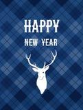 С Рождеством Христовым и счастливая карточка Нового Года с оленем Стоковое фото RF