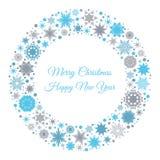 С Рождеством Христовым и счастливая карточка Нового Года с снежинками Стоковые Изображения