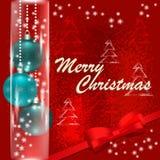 С Рождеством Христовым и счастливая карточка Нового Года с шариками рождества иллюстрация вектора