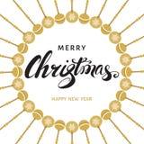 С Рождеством Христовым и счастливая карточка Нового Года с литерностью руки Стоковые Изображения