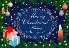С Рождеством Христовым и счастливая карточка Нового Года иллюстрация вектора