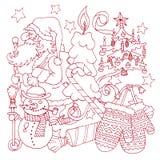 С Рождеством Христовым и счастливая новая открытка плана шаржа 2016 год Стоковая Фотография RF