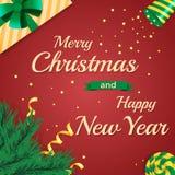 С Рождеством Христовым и счастливая Нового Года поздравительная открытка 2017 Стоковое Изображение