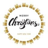С Рождеством Христовым и счастливая поздравительная открытка вектора Нового Года Стоковые Изображения RF