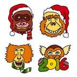 С Рождеством Христовым и счастливые новые значки шаржа 2016 год с обезьянами Стоковые Фотографии RF