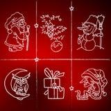 С Рождеством Христовым и счастливые новые значки шаржа 2016 год Стоковые Изображения RF