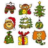 С Рождеством Христовым и счастливые новые значки vecot шаржа 2016 год с обезьянами и настоящими моментами Стоковая Фотография RF