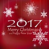С Рождеством Христовым и счастливые украшения карточки Нового Года предпосылки красные Стоковая Фотография