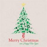 С Рождеством Христовым и счастливый коллаж дерева Нового Года Стоковое Изображение RF