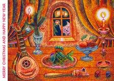 С Рождеством Христовым и счастливый Новый Год - иллюстрация шаржа Стоковое Изображение