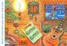 С Рождеством Христовым и счастливый Новый Год 2 - иллюстрация шаржа Стоковые Изображения RF