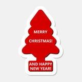 С Рождеством Христовым и счастливый Новый Год, красный стикер рождественской елки стоковая фотография
