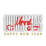 С Рождеством Христовым и счастливый Новый Год 2017, рука нарисованное Dotwork Handmade каллиграфия вектора для вашего дизайна Стоковые Фотографии RF
