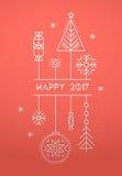 С Рождеством Христовым и счастливый шаблон поздравительной открытки Нового Года иллюстрация вектора