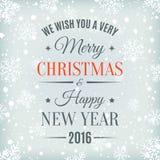 С Рождеством Христовым и счастливый ярлык текста Нового Года Стоковое фото RF