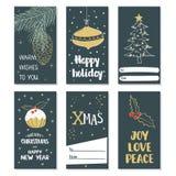 С Рождеством Христовым и с новым годом комплект рождества карточек Стоковая Фотография RF