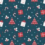 С Рождеством Христовым и с новым годом Предпосылка зимнего отдыха Милая безшовная картина с красными и голубыми цветами Стоковые Фото