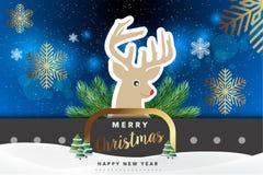 С Рождеством Христовым иллюстрация вектора предпосылки северного оленя Стоковая Фотография