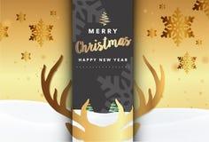 С Рождеством Христовым иллюстрация вектора предпосылки северного оленя золота Стоковые Фотографии RF