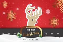 С Рождеством Христовым иллюстрация вектора предпосылки северного оленя Стоковое Изображение RF