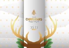 С Рождеством Христовым иллюстрация вектора предпосылки северного оленя Стоковые Изображения RF