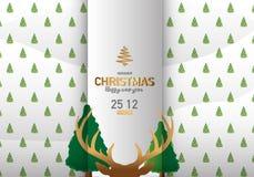 С Рождеством Христовым иллюстрация вектора предпосылки северного оленя Стоковое Изображение
