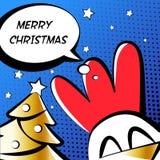 С Рождеством Христовым иллюстрация с петухом, золотое дерево и текст заволакивают Стиль комиксов вектор Стоковое Изображение