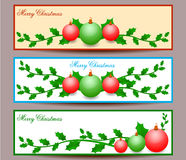 С Рождеством Христовым иллюстрация установленного дизайна знамен Стоковое фото RF