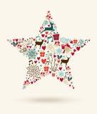 С Рождеством Христовым иллюстрация формы звезды Стоковое Изображение