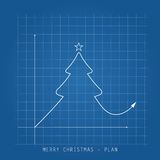 С Рождеством Христовым карточка иллюстрации Светокопии чертежа дерева на a стоковые фотографии rf