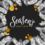 С Рождеством Христовым карточка черноты и золота Золотые сияющие ветви дерева яркого блеска и акварели Плакат приветствию каллигр Стоковое фото RF