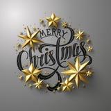 С Рождеством Христовым каллиграфическая литерность Стоковая Фотография