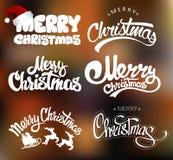 С Рождеством Христовым комплект дизайна литерности также вектор иллюстрации притяжки corel Бесплатная Иллюстрация