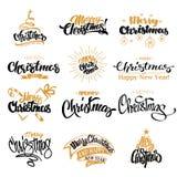 С Рождеством Христовым комплект дизайна литерности Иллюстрация штока