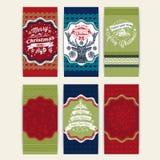 С Рождеством Христовым комплект 6 поздравительных открыток xmas Стоковое Изображение RF