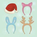 С Рождеством Христовым комплект шаржа масленицы Стоковая Фотография