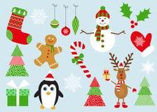 С Рождеством Христовым комплект элементов и украшений Стоковые Фото
