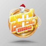 С Рождеством Христовым круг литерности Современный стиль fo каллиграфии 3D Стоковая Фотография
