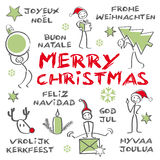 С Рождеством Христовым, многоязычная рождественская открытка иллюстрация вектора
