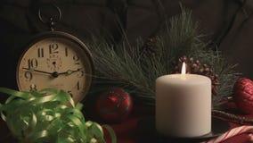 С Рождеством Христовым натюрморт праздника сток-видео
