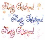 С Рождеством Христовым надписи иллюстрация вектора