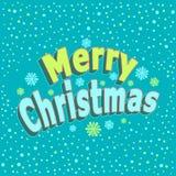 С Рождеством Христовым надпись с влиянием 3d и с confetti в стиле шаржа на сини иллюстрация штока