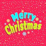 С Рождеством Христовым надпись с влиянием 3d и с confetti в стиле шаржа на красном цвете иллюстрация штока