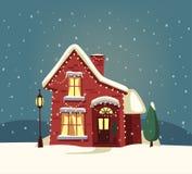 С Рождеством Христовым дом alien кот шаржа избегает вектор крыши иллюстрации Стоковое фото RF