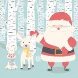 С Рождеством Христовым открытка с Санта Клаусом, оленем, кроликом в лесе Стоковое Фото