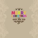 С Рождеством Христовым поздравительная открытка вектора сделанная с различным цветом для каждого письма Стоковые Изображения