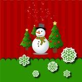 С Рождеством Христовым поздравительная открытка снеговика Стоковые Фото