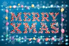 С Рождеством Христовым поздравительная открытка с воздушными шарами летания, белая рамка бесплатная иллюстрация