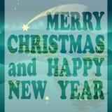 С Рождеством Христовым поздравительная открытка с звездами и деревьями иллюстрация вектора