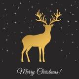 С Рождеством Христовым поздравительная открытка с золотыми оленями Стоковые Изображения RF